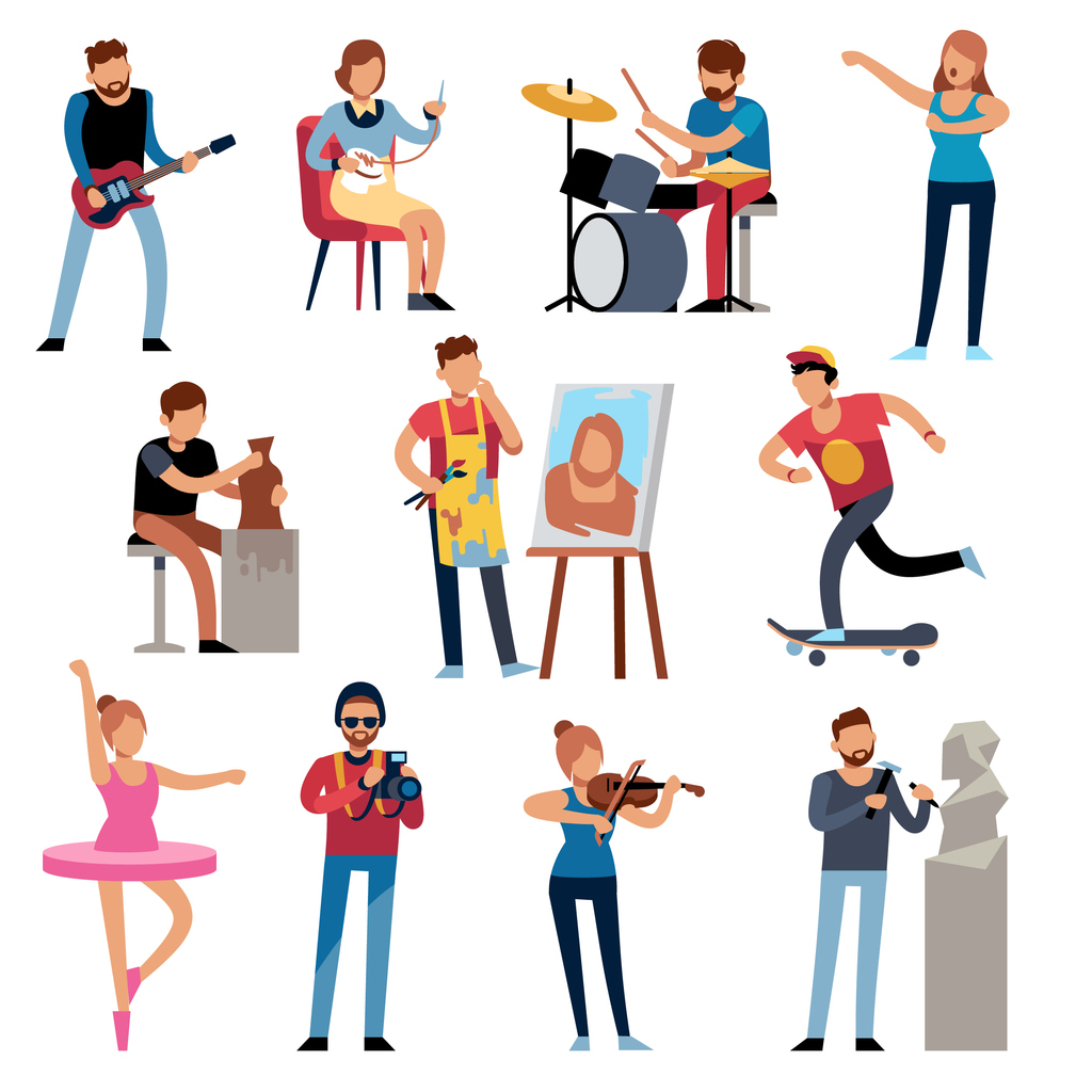 Hobby persons. People of creative professions at work. Artistic occupations, retro hobbies cartoon characters vector illustration set